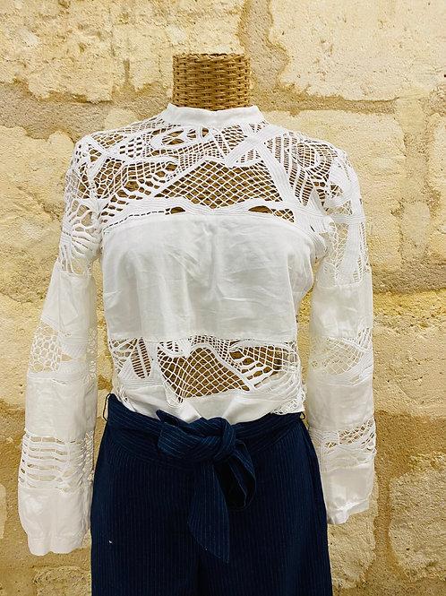 Lilylovesfashion - Blouse Amance blanche dentelle 100% Coto T36