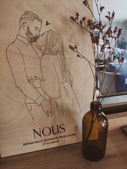 Affiche amour sur bois