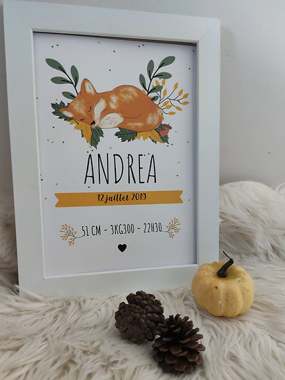 Affiche naissance Renard/Renarde