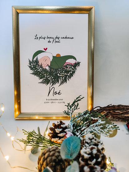 Affiche naissance bébé de Noël
