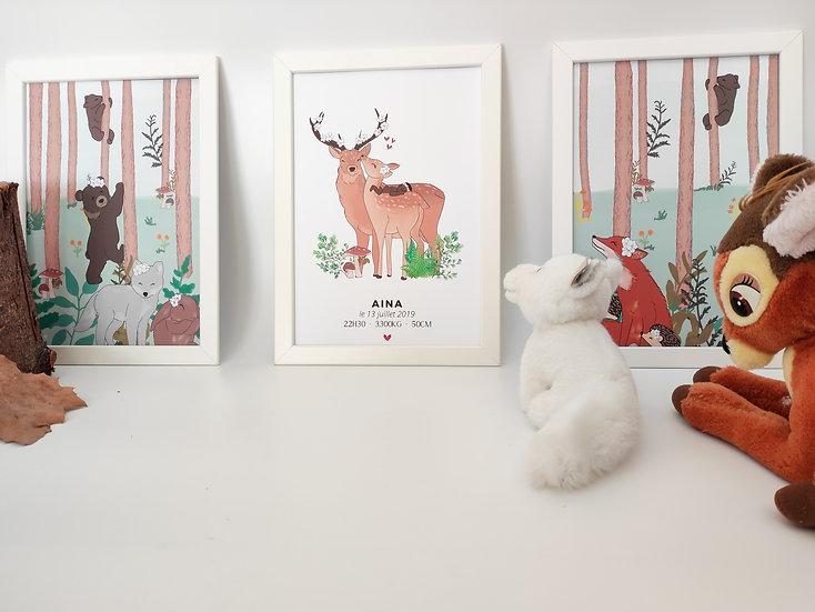 Trio d'affiche naissance - thème woodland