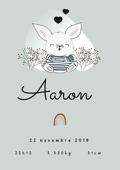 Affiche naissance lapin/lapine