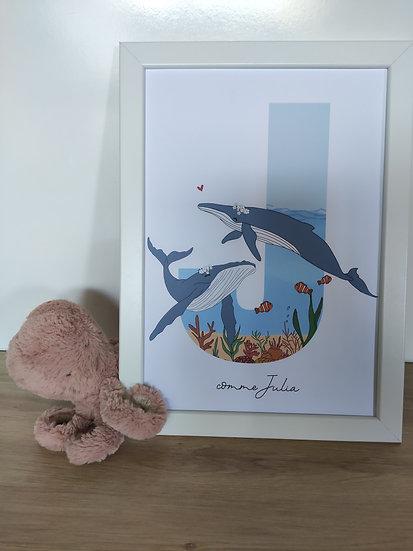 Affiche lettre océan (Baleines, tortues, Poulpe)