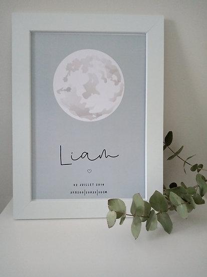 Affiche naissance, lune d'amour