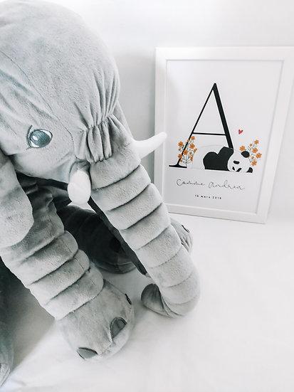Affiche lettre de prénom Panda