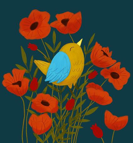 Bird in Poppies