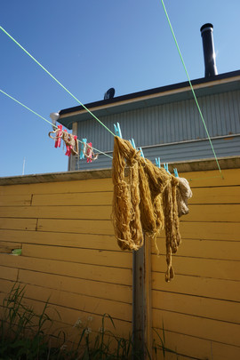 dyed wool on the line
