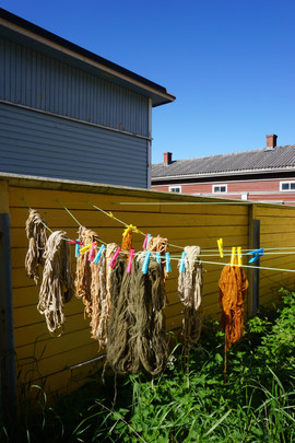 dyed wool line-drying
