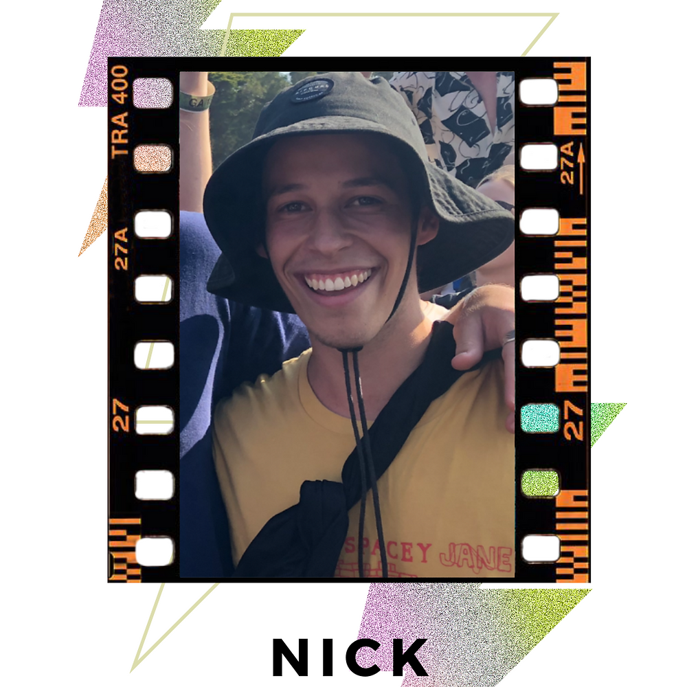 a picture of Nick with a big grin, wearing a bucket hat and yellow shirt. Image is bordered  with black film and decorative/colourful lighting bolds behind image.  Text: Nick