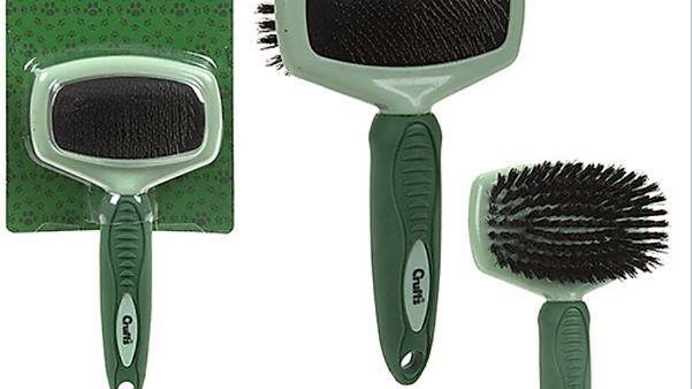 Crufts DOUBLE SIDED SLICKER BRUSH Soft Grip Pet Dog Grooming Brush Comb
