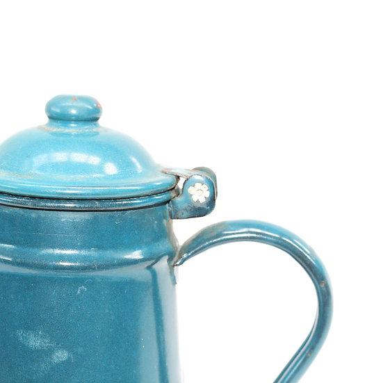 French-antique-vintage-enamel-cafetiere-jug-pitcher-blue-navy-nz-new-zealand-image-1