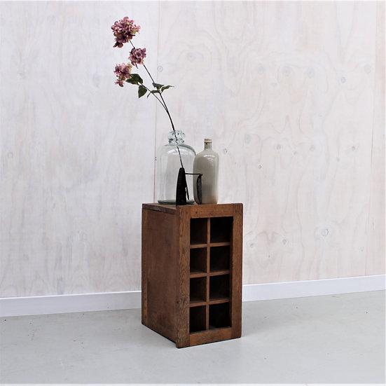 oak wooden wine bottle holder French European antique vintage furniture homeware décor nz front