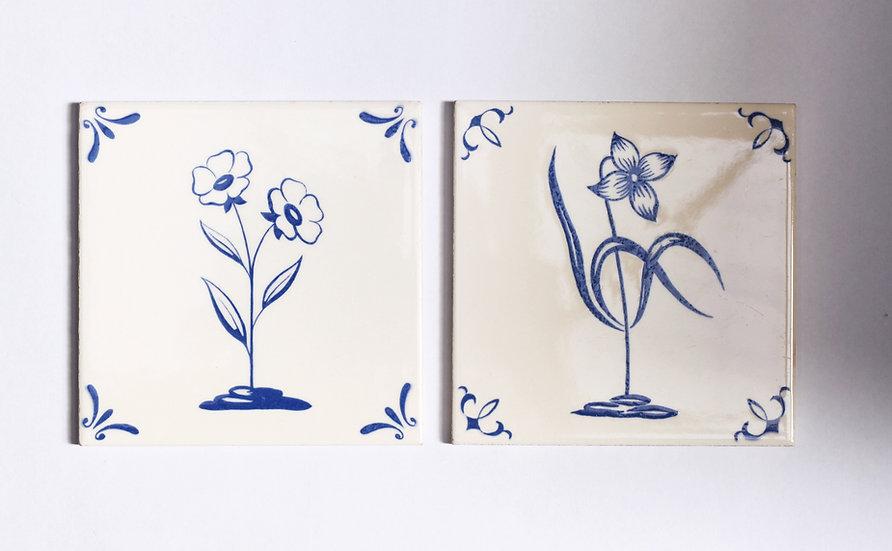French-antique-vintage-Richard-Ginori-Cerabati-floral-tiles-nz-new-zealand-image-1