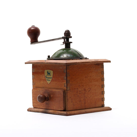 French-antique-vintage-coffee-mill-grinder-peugeot-freres-green-top-nz-new-zealand-image-1