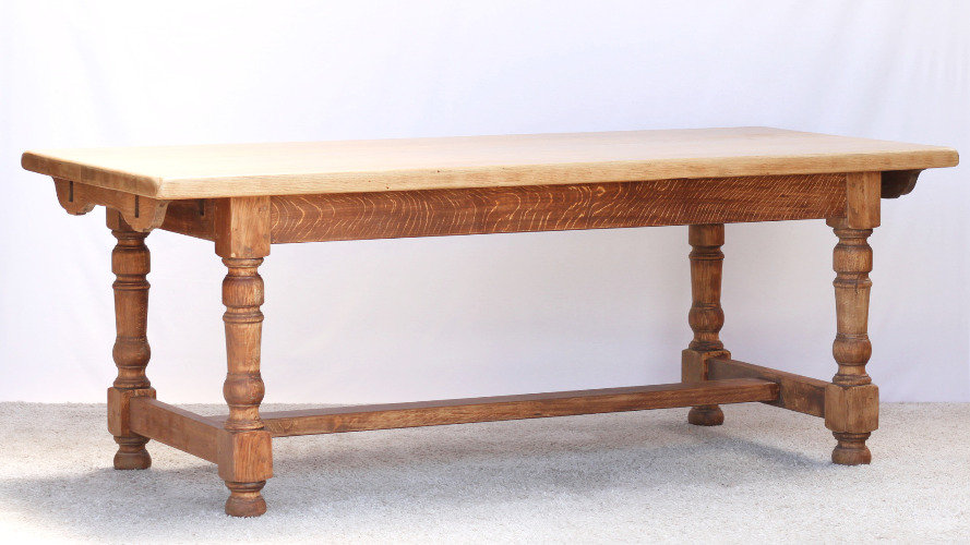 oak dining table farmhouse plank top French European vintage furniture nz side view