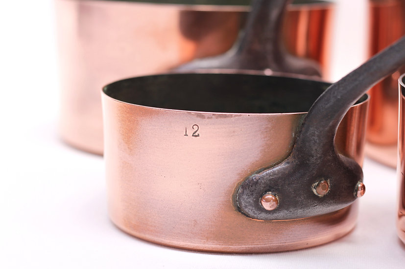 French-antique-vintage-copper-pans-set-of-6-with-diameter-stamps-nz-new-zealand-image-1