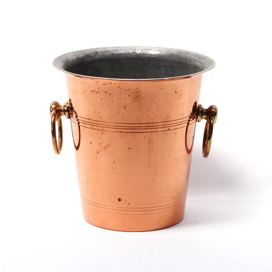 Champagne wine ice bucket copper French European antique vintage furniture homeware décor nz front view