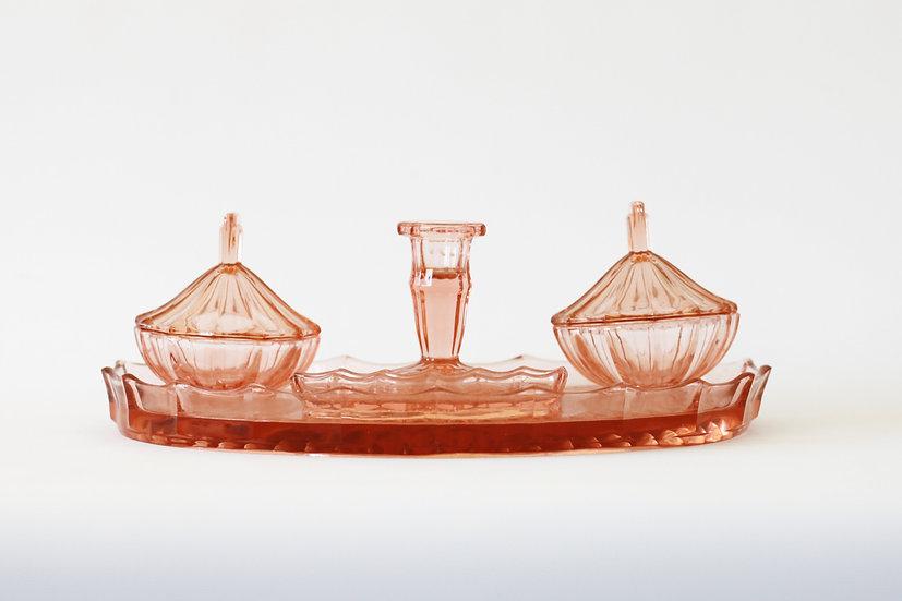 pink glass vanity dressing table set French European antique vintage furniture homeware décor nz