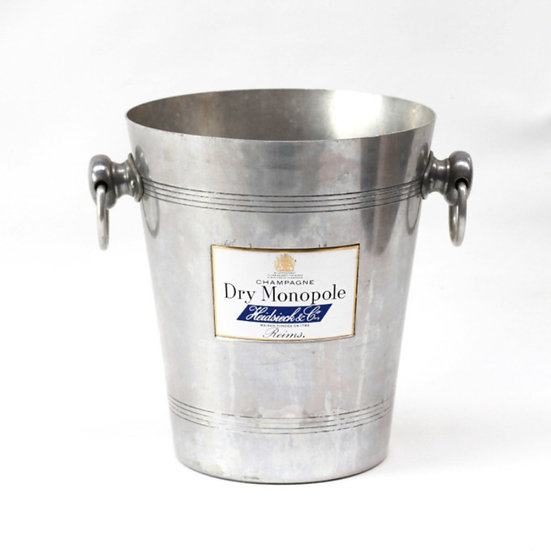 Champagne wine ice bucket aluminium champagne Dry Monopole French European antique vintage furniture homeware décor nz front