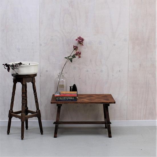 oak coffee table farmhouse parquet top French European antique vintage furniture homeware décor nz front