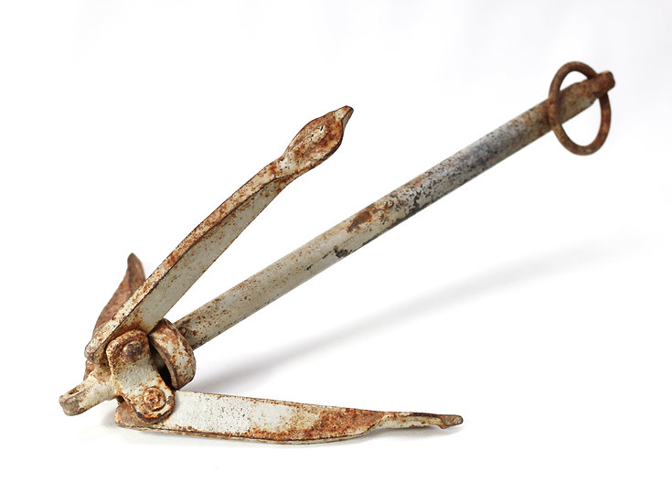 French-antique-vintage-industrial-folding-boat-anchor-steel-nz-new-zealand-image-1