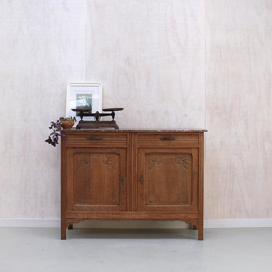 oak carved buffet marble top French European antique vintage furniture homeware décor nz front