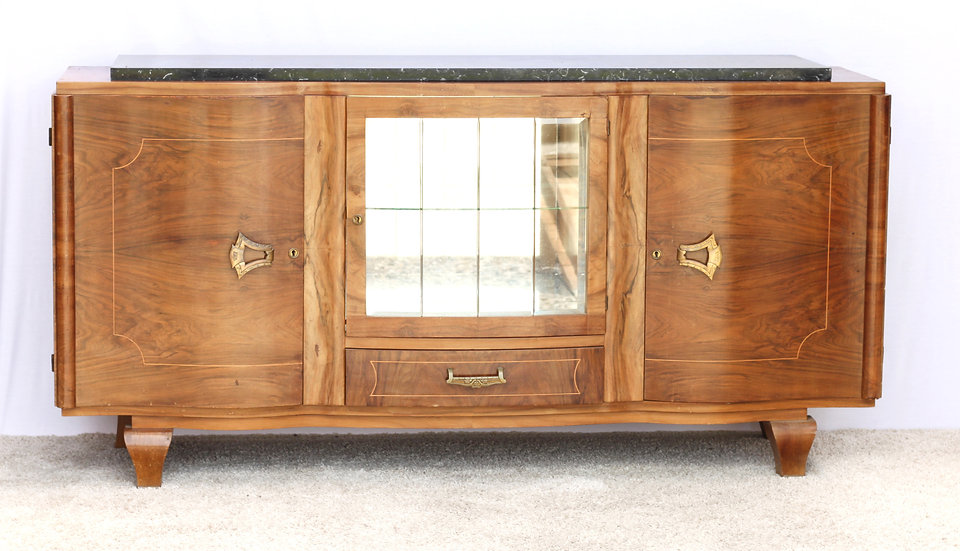French-antique-vintage-walnut-sideboard-art-deco-marble-top-glass-doors-mirror-shelves-nz-new-zealand-image-1