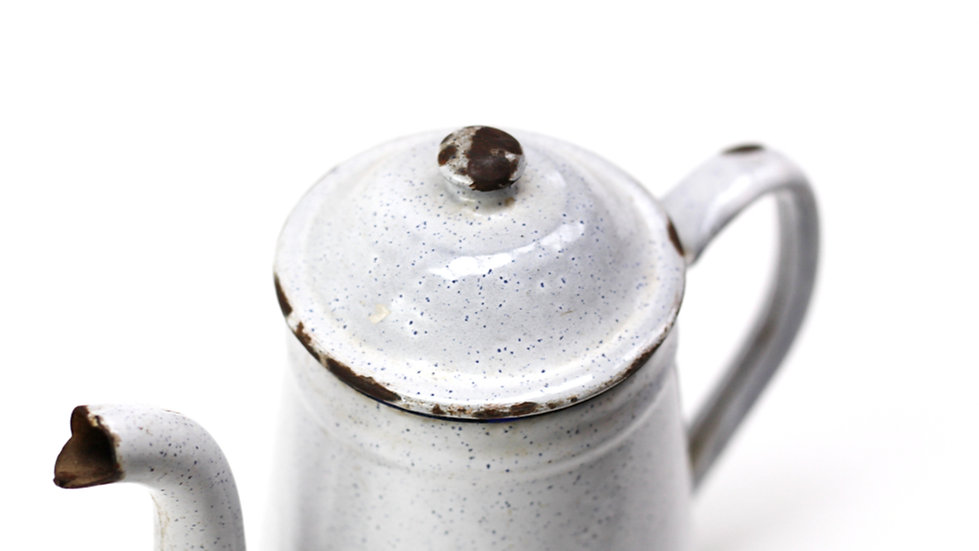 French-antique-vintage-enamel-cafetiere-jug-pitcher-speckled-white-blue-nz-new-zealand-image-1