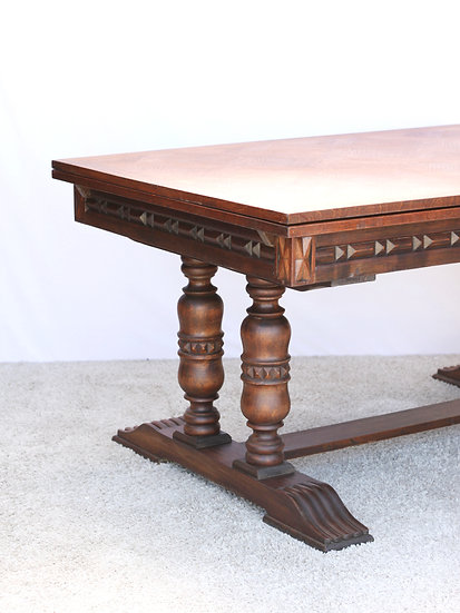 French-antique-vintage-oak-dining-table-draw-leaf-parquet-top-breton-carved-nz-new-zealand-image-1