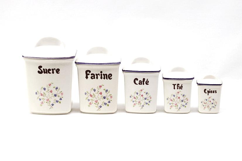 French-antique-vintage-porcelain-canister-set-of-5-flower-pattern-nz-new-zealand-image-1