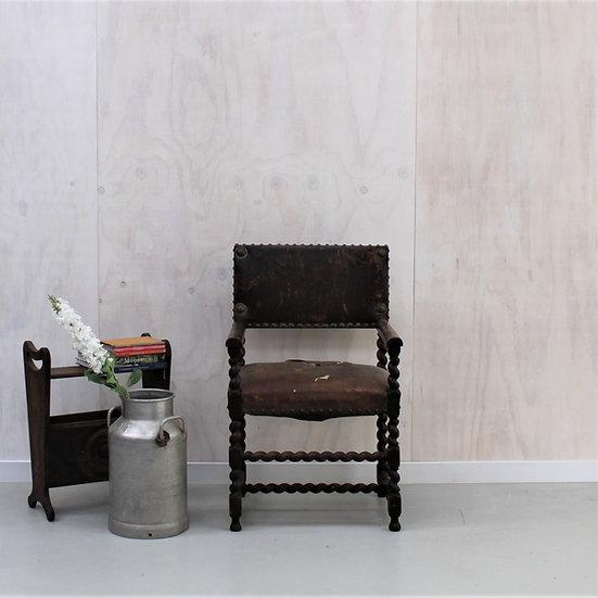 leather notaires chair barley twist legs desk hall chair French European antique vintage furniture homeware décor nz front