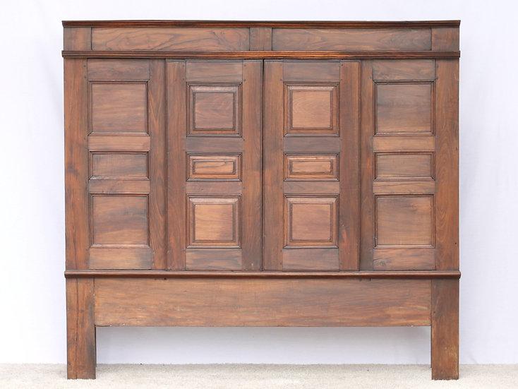 French-antique-vintage-oak-panelled-tall-unit-sliding-doors-nz-new-zealand-image-1