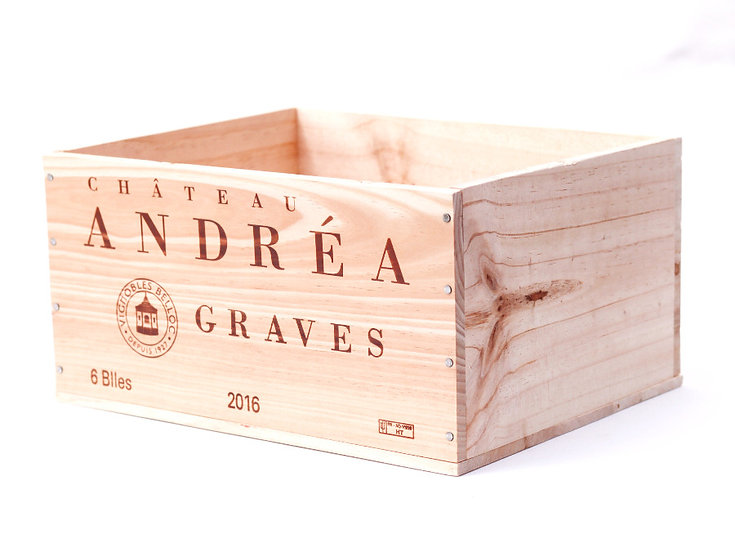 vineyard wooden wine box Chateau Andrea Graves nz French European antique vintage furniture homeware décor nz side view