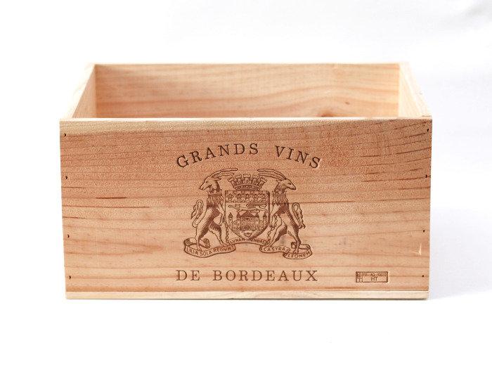 vineyard wooden wine box Grands Vins De Bordeaux nz French European antique vintage furniture homeware décor nz front view