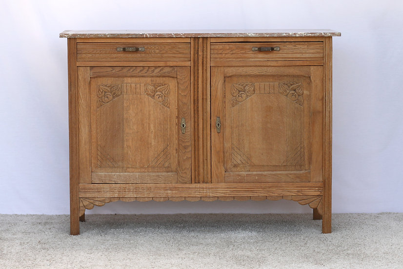 French-antique-vintage-oak-carved-buffet-marble-top-nz-new-zealand-image-1