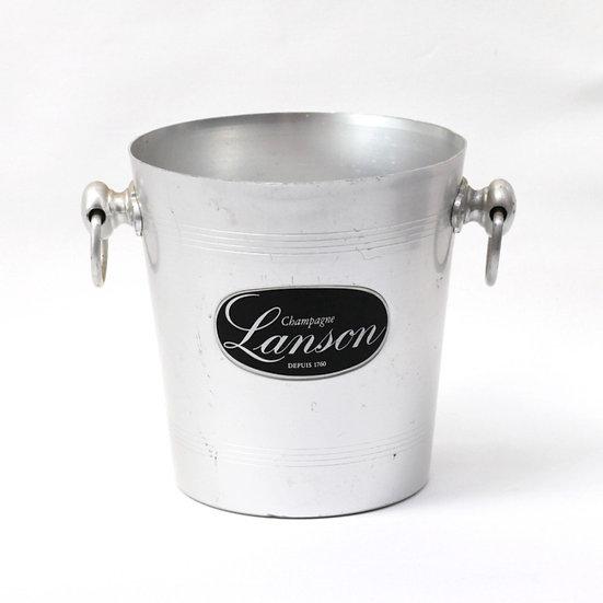 Champagne wine ice bucket aluminium champagne Lanson French European antique vintage furniture homeware décor nz front view