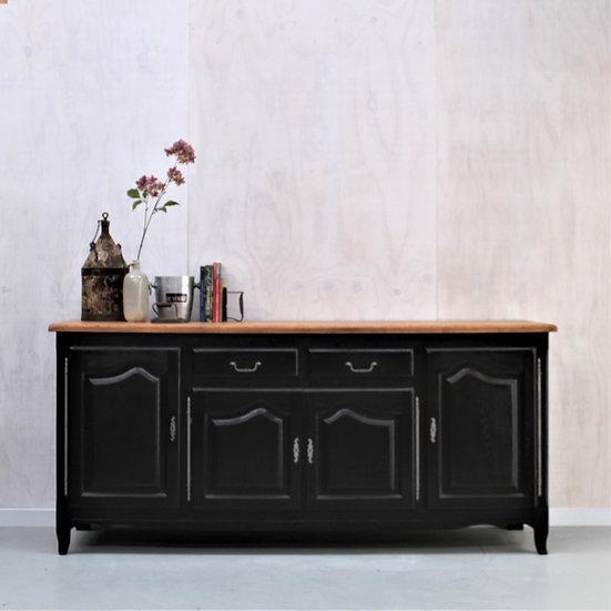 oak sideboard enfilade black French European antique vintage furniture homeware décor nz front