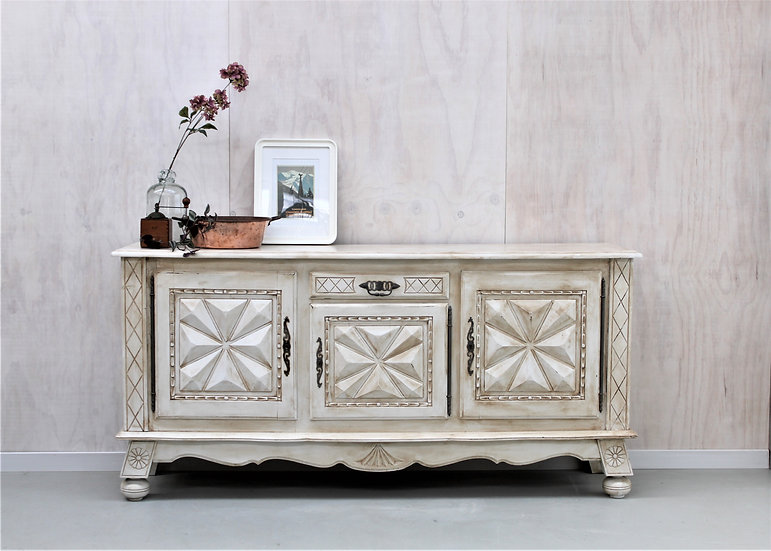 oak carved sideboard white painted French European antique vintage furniture homeware décor nz front