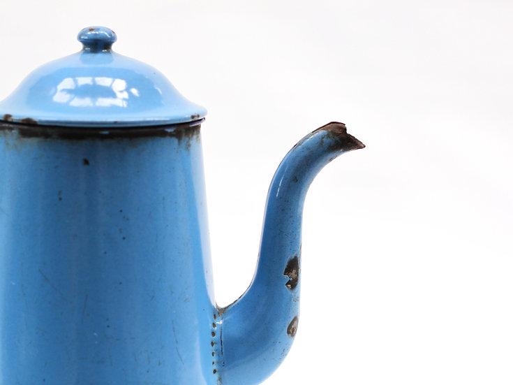 French-antique-vintage-enamel-cafetiere-jug-pitcher-blue-azure-large-nz-new-zealand-image-1