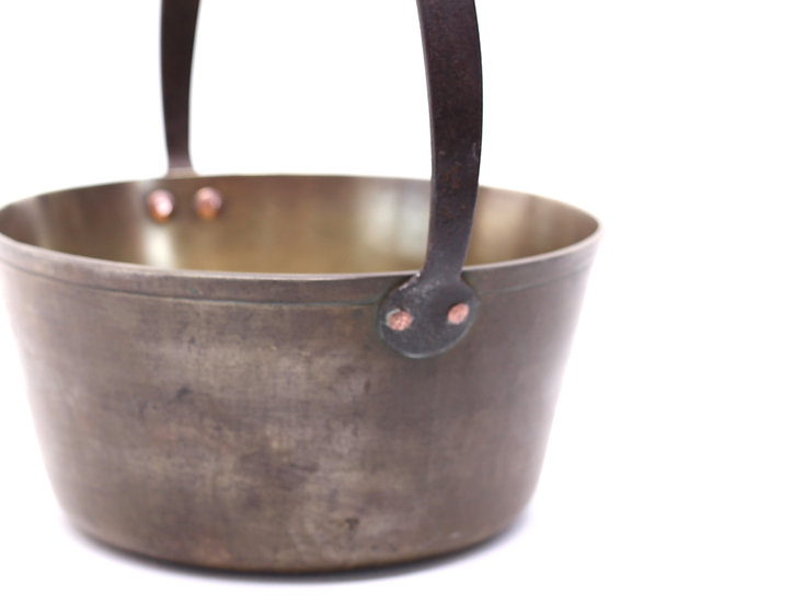 French-antique-vintage-brass-jam-pan-with-iron-handle-nz-new-zealand-image-1