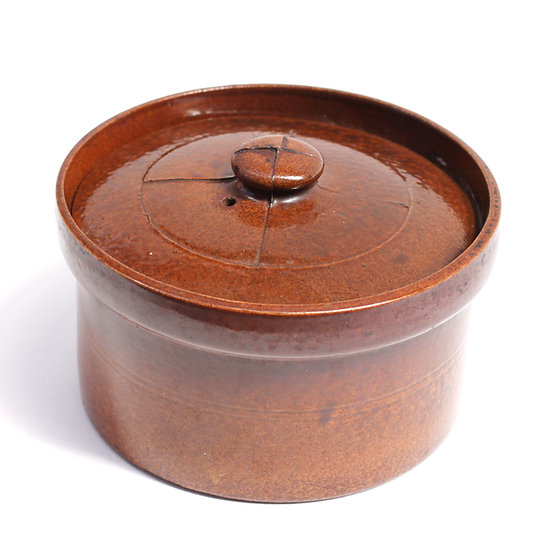 French-antique-vintage-stoneware-bakeware-pot-casserole-dish-criss-cross-lid-brown-nz-new-zealand-image-1