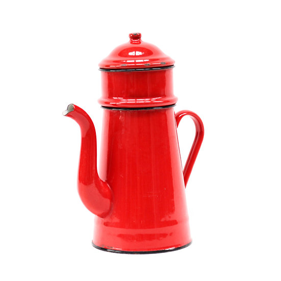 French-antique-vintage-enamel-cafetiere-jug-pitcher-red-3-piece-nz-new-zealand-image-1