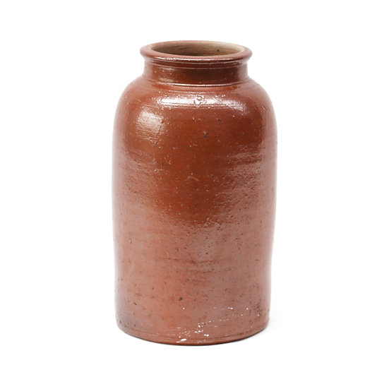 French-antique-vintage-stoneware-pot-brown-cream-glaze-tall-pottery-provincial-rustic-farmhouse-nz-new-zealand-image-1
