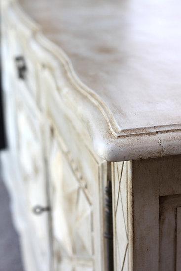oak carved sideboard white painted French European antique vintage furniture homeware décor nz corner