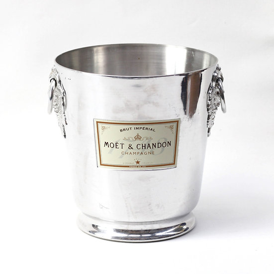 Champagne wine ice bucket aluminium cMoet and Chandon French European antique vintage furniture homeware décor nz  front view