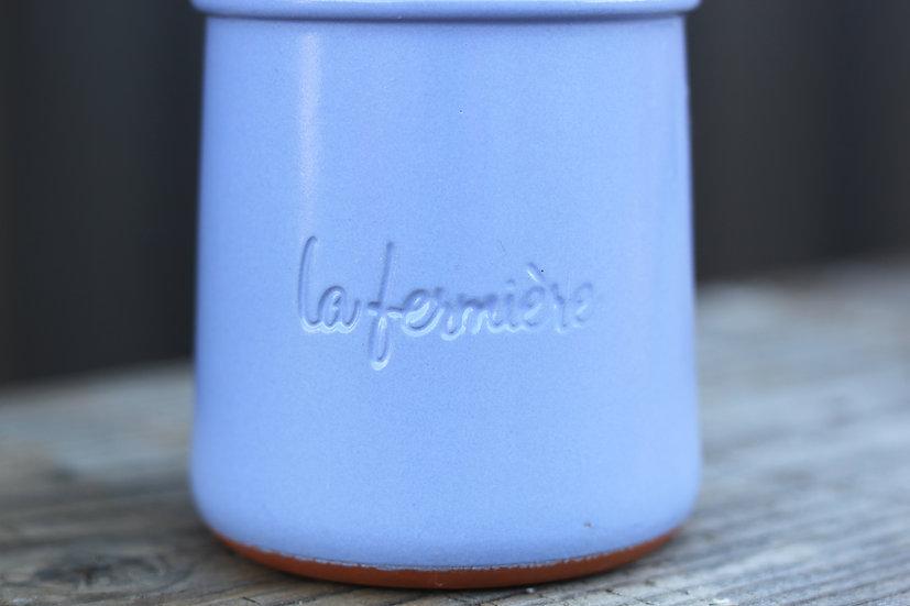 French-antique-vintage-terracotta-yoghurt-pot-blue-la-fermier-nz-new-zealand-image-1