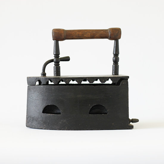 Coal iron with wooden handle French European antique vintage furniture homeware décor nz side