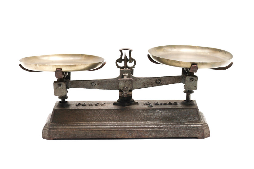 French-antique-vintage-industrial-scales-force-10-kilo-cast-iron-with-pans-nz-new-zealand-image-1