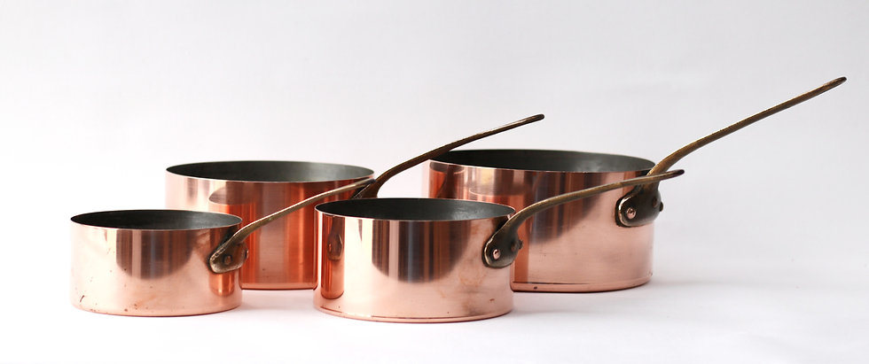 Copper pans - set of 4 with Made in France stamp. SOLD