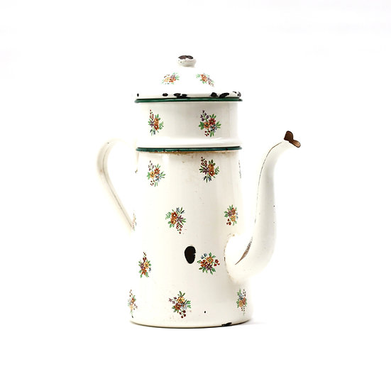 French-antique-vintage-enamel-cafetiere-jug-pitcher-cream-3-piece-flower-nz-new-zealand-image-1